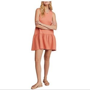 Free People Mini Dress with v back in coral